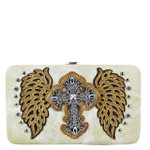 BEIGE STUDDED RHINESTONE CROSS WITH STICHED WINGS LOOK FLAT THICK WALLET FW2-04128BEI
