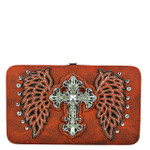 RED STUDDED RHINESTONE CROSS WITH STICHED WINGS LOOK FLAT THICK WALLET FW2-04128RED