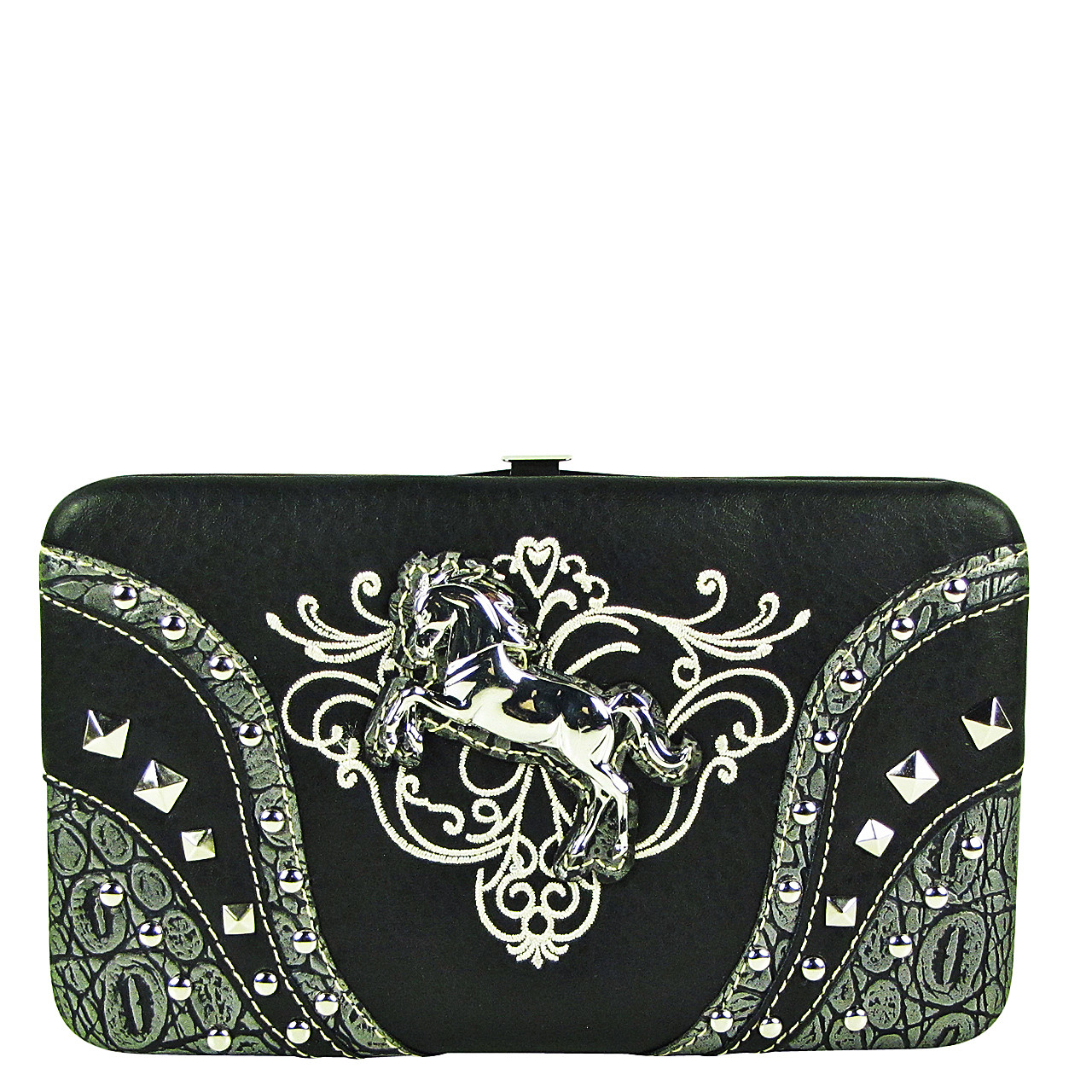 BLACK STITCHED TOOLED STUDDED HORSE LOOK FLAT THICK WALLET FW2-12126BLK