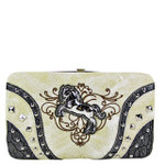 BEIGE STITCHED TOOLED STUDDED HORSE LOOK FLAT THICK WALLET FW2-12126BEI
