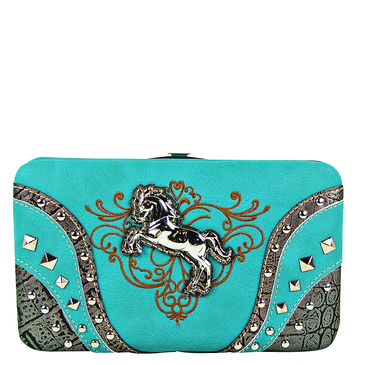 TURQUOISE STITCHED TOOLED STUDDED HORSE LOOK FLAT THICK WALLET FW2-12126TRQ