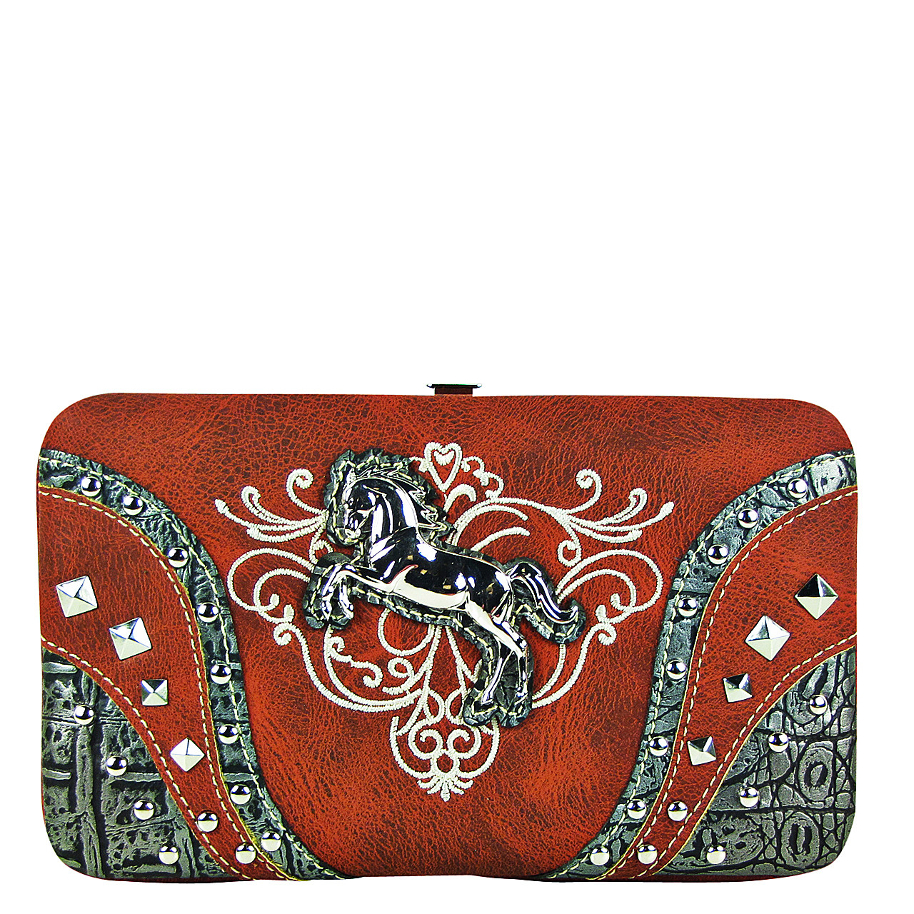 RED STITCHED TOOLED STUDDED HORSE LOOK FLAT THICK WALLET FW2-12126RED