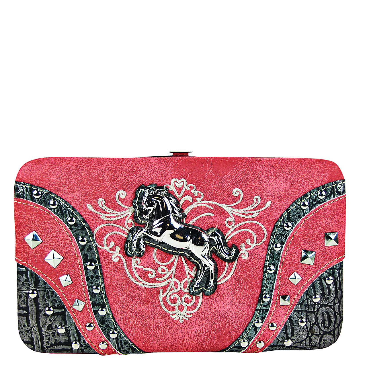 HOT PINK STITCHED TOOLED STUDDED HORSE LOOK FLAT THICK WALLET FW2-12126HPK