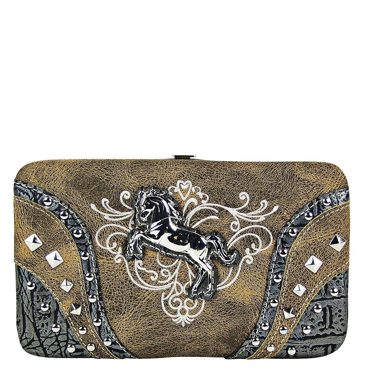 BROWN STITCHED TOOLED STUDDED HORSE LOOK FLAT THICK WALLET FW2-12126BRN