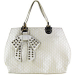 BEIGE DIAMOND STITCHING WITH STUDDED RHINESTONE BOW FLAT DESIGN LOOK SHOULDER HANDBAG HB1-156BEI