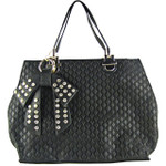 BLACK DIAMOND STITCHING WITH STUDDED RHINESTONE BOW FLAT DESIGN LOOK SHOULDER HANDBAG HB1-156BLK