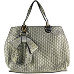 GRAY DIAMOND STITCHING WITH STUDDED RHINESTONE BOW FLAT DESIGN LOOK SHOULDER HANDBAG HB1-156GRY