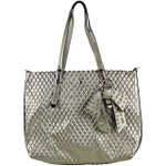 GRAY PLAIN PATTERN STITCHING FLAT BAG WITH STUDDED BOW DESIGN LOOK SHOULDER HANDBAG HB1-151GRY