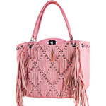 PINK FULL STUDDED FRINGE LOOK SHOULDER HANDBAG HB1-AB8801PNK