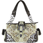BEIGE FLOWER STITCHED STUDDED BUCKLE LOOK SHOULDER HANDBAG HB1-W10BKBEI