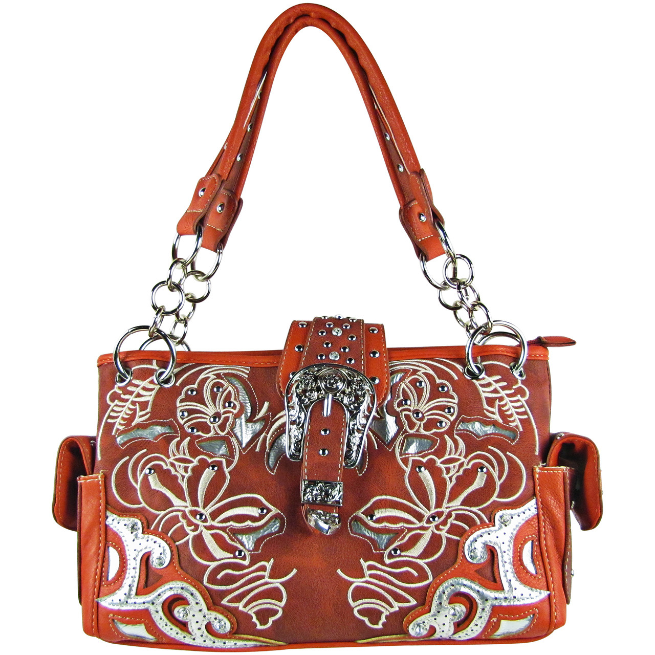 RED FLOWER STITCHED STUDDED BUCKLE LOOK SHOULDER HANDBAG HB1-W10BKRED