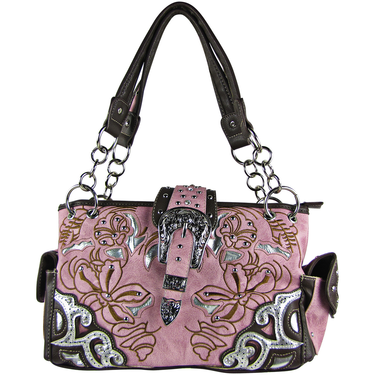 PINK FLOWER STITCHED STUDDED BUCKLE LOOK SHOULDER HANDBAG HB1-W10BKPNK