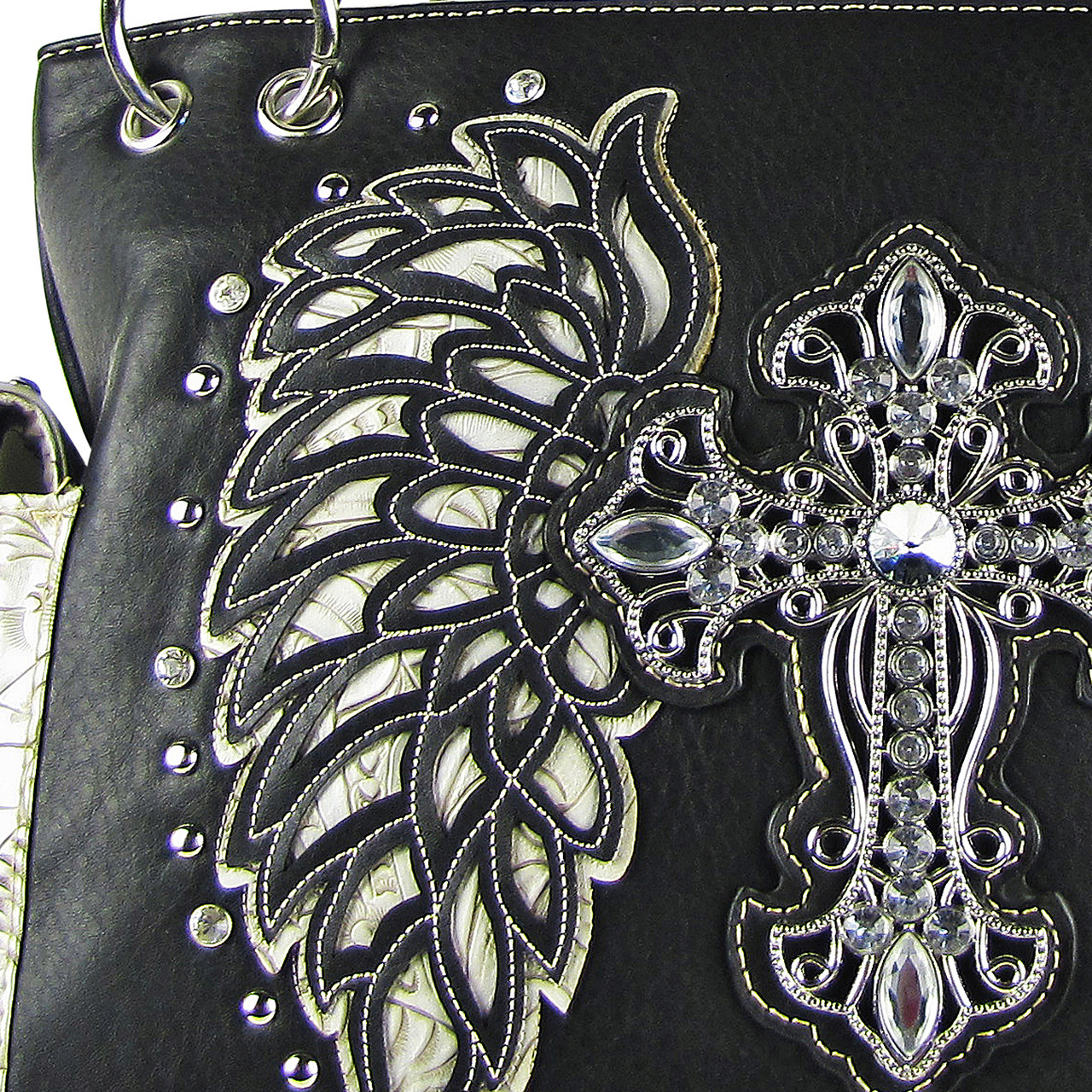 BLACK RHINESTONE CROSS WITH TOOLED WINGS LOOK SHOULDER HANDBAG HB1-15LCRBLK