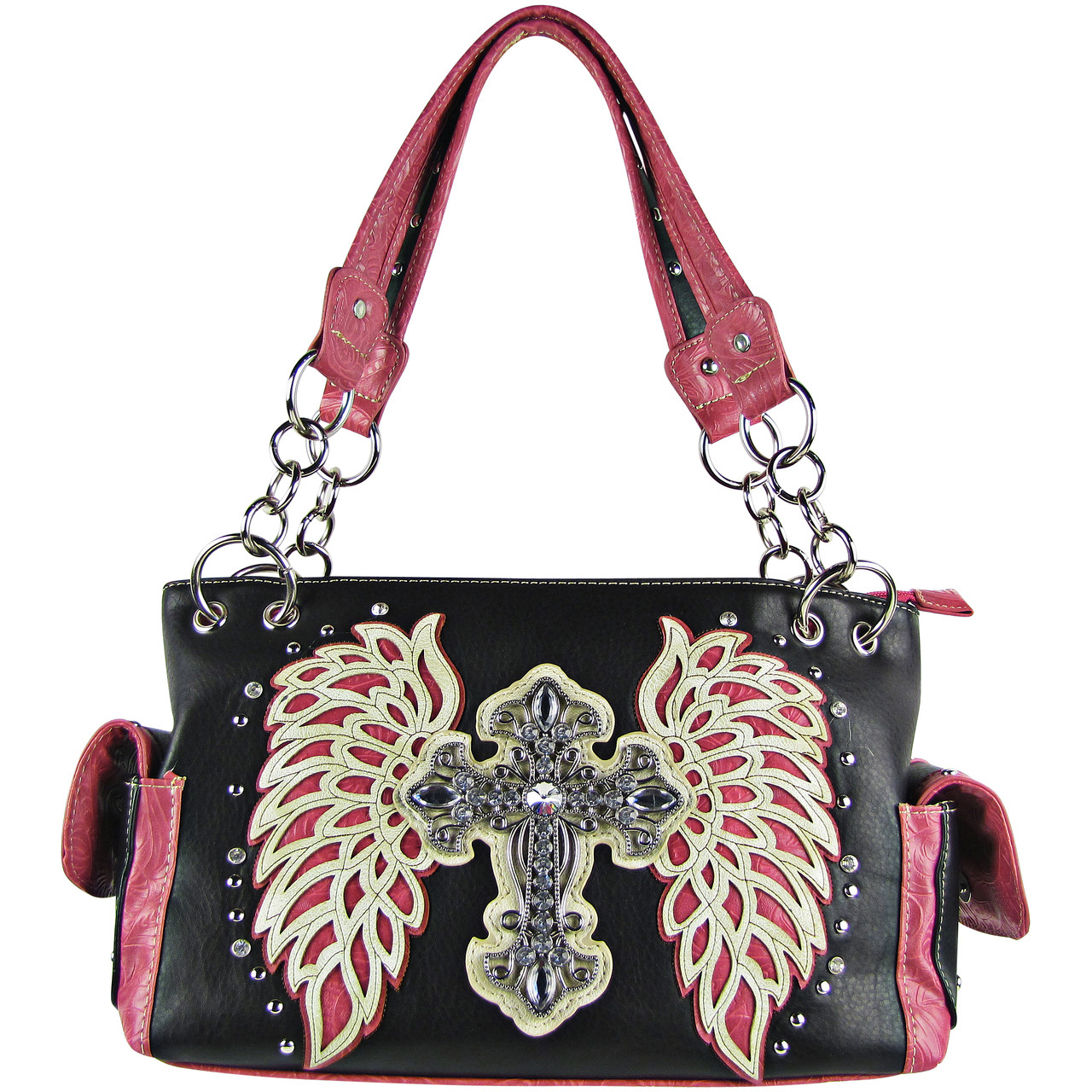 HOT PINK RHINESTONE CROSS WITH TOOLED WINGS LOOK SHOULDER HANDBAG HB1-15LCRHPK