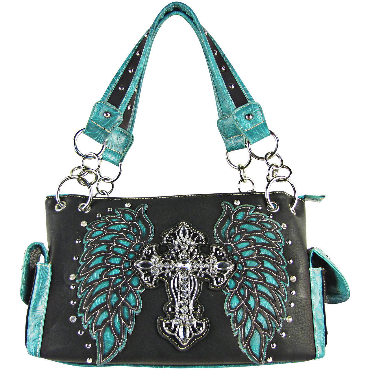 TURQUOISE RHINESTONE CROSS WITH TOOLED WINGS LOOK SHOULDER HANDBAG HB1-15LCRTRQ
