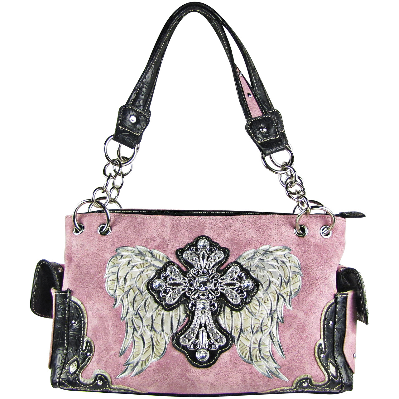 PINK RHINESTONE CROSS WITH WINGS LOOK SHOULDER HANDBAG HB1-61LCRPNK