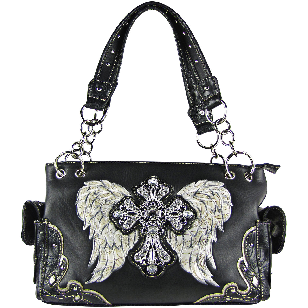 SILVER RHINESTONE CROSS WITH WINGS LOOK SHOULDER HANDBAG HB1-61LCRSLLV