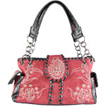 HOT PINK RHINESTONE FLOWER STITCHED LOOK SHOULDER HANDBAG HB1-K1015HPK