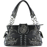 BLACK RHINESTONE FLOWER STITCHED LOOK SHOULDER HANDBAG HB1-K1015BLK