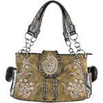 BROWN RHINESTONE FLOWER STITCHED LOOK SHOULDER HANDBAG HB1-K1015BRN