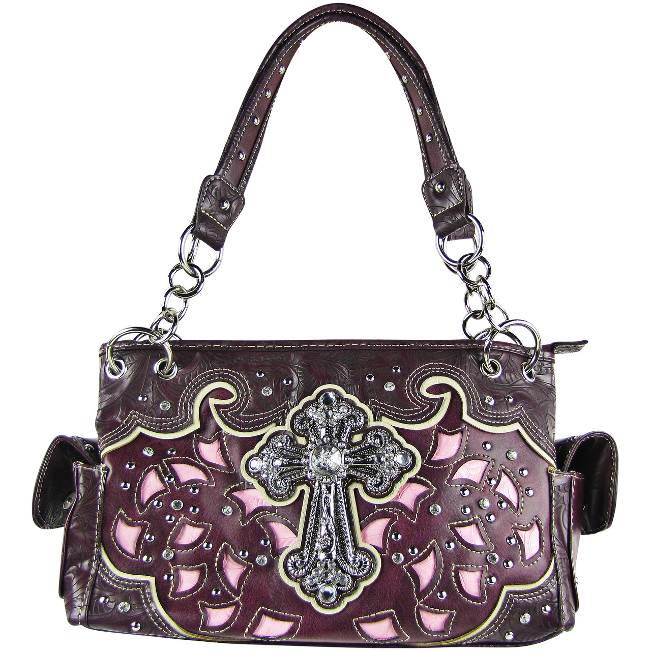 PURPLE TOOLED RHINESTONE CROSS STITCHED LOOK SHOULDER HANDBAG HB1-68LCRPPL