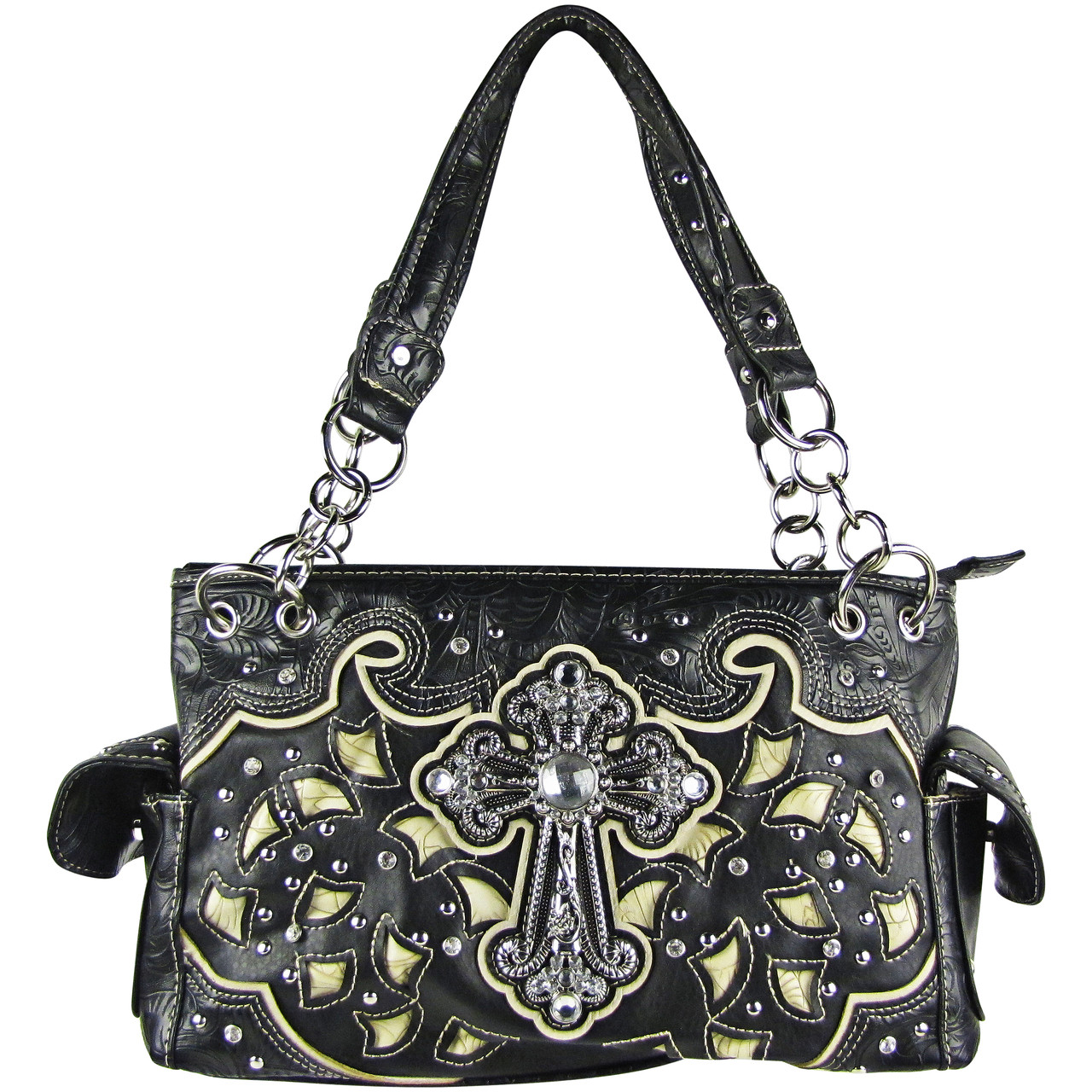 BLACK TOOLED RHINESTONE CROSS STITCHED LOOK SHOULDER HANDBAG HB1-68LCRBLK