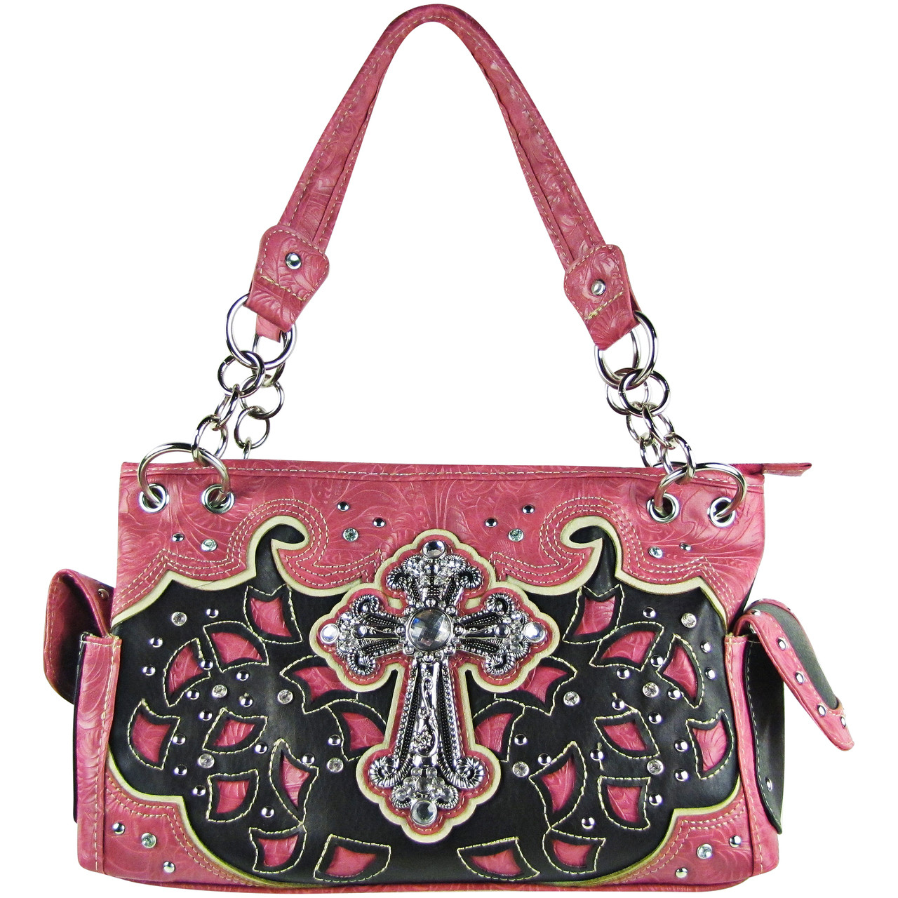 HOT PINK TOOLED RHINESTONE CROSS STITCHED LOOK SHOULDER HANDBAG HB1-68LCRHPK