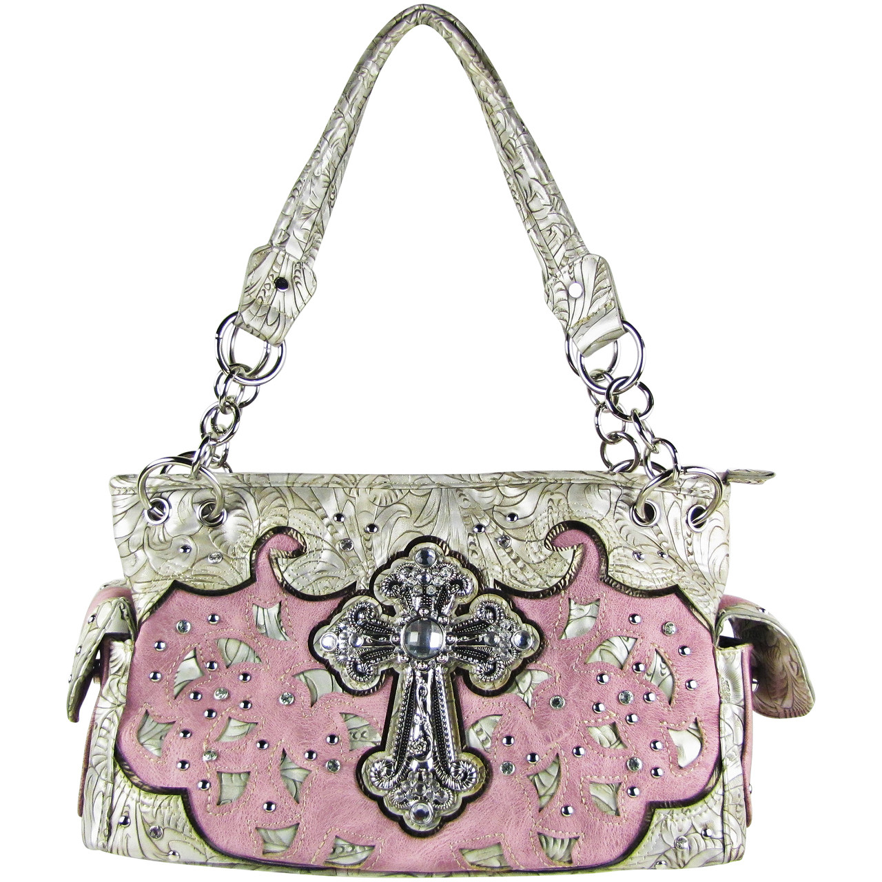 PINK TOOLED RHINESTONE CROSS STITCHED LOOK SHOULDER HANDBAG HB1-68LCRPNK