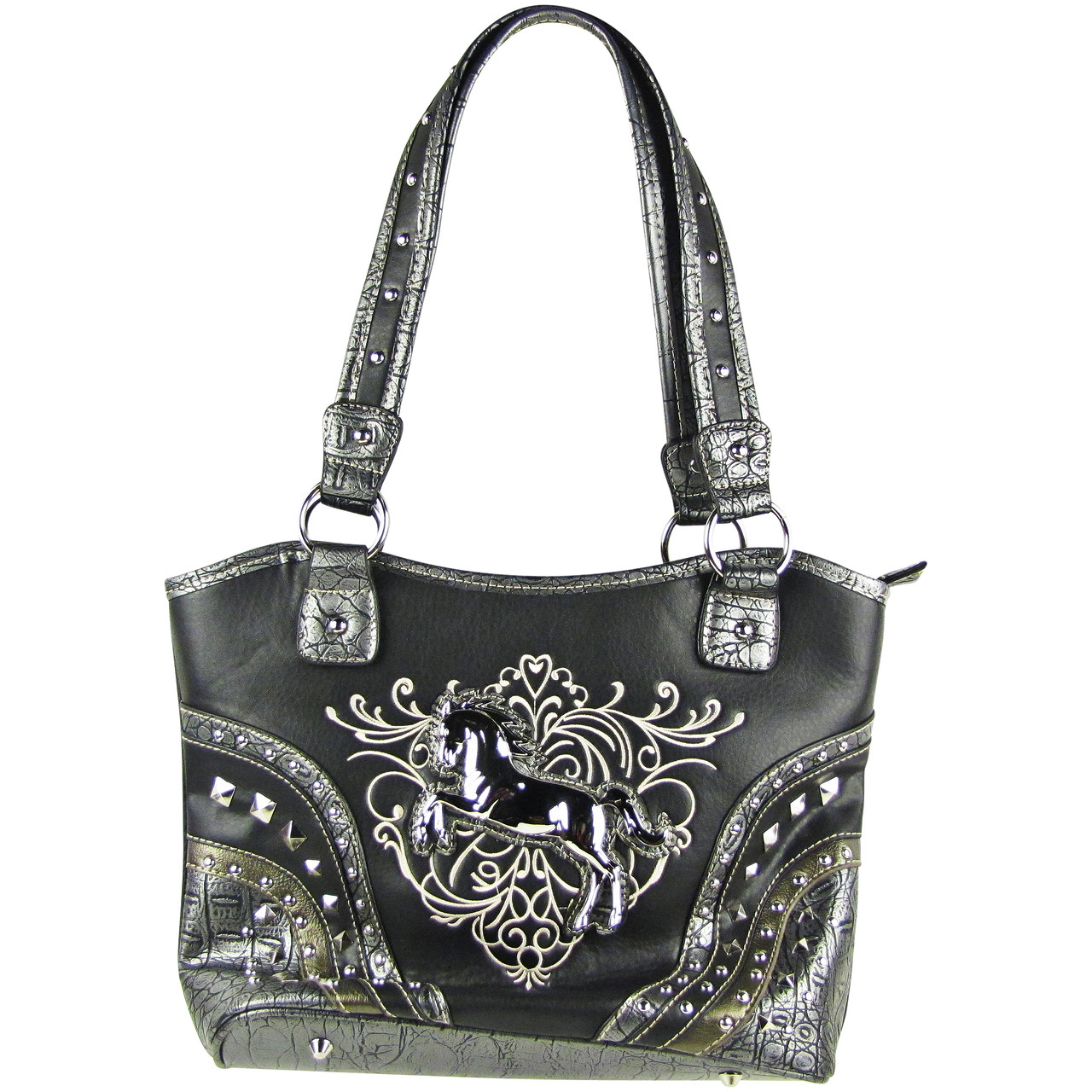 BLACK METAL HORSE WITH STITCHED DESIGN LOOK SHOULDER HANDBAG HB1-W22HSBLK