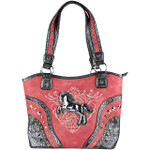 HOT PINK METAL HORSE WITH STITCHED DESIGN LOOK SHOULDER HANDBAG HB1-W22HSHPK