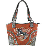 RED METAL HORSE WITH STITCHED DESIGN LOOK SHOULDER HANDBAG HB1-W22HSRED