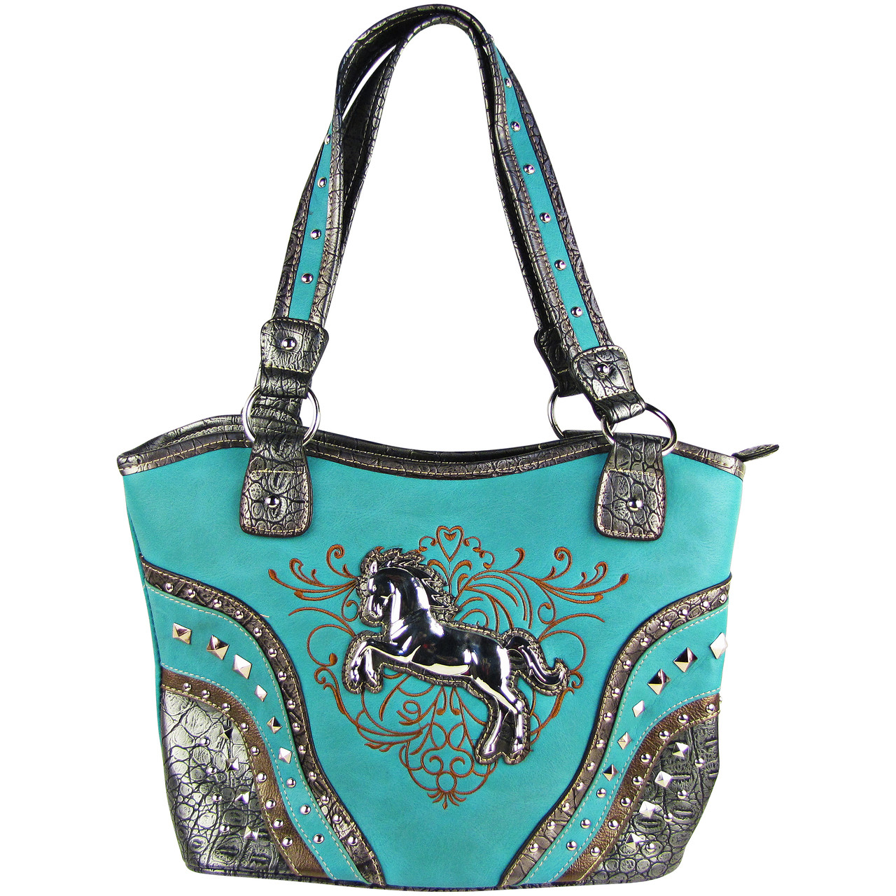 TURQUOISE METAL HORSE WITH STITCHED DESIGN LOOK SHOULDER HANDBAG HB1-W22HSTRQ