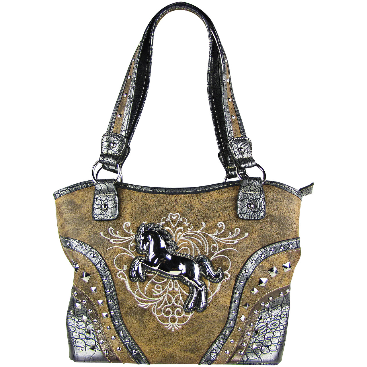 BROWN METAL HORSE WITH STITCHED DESIGN LOOK SHOULDER HANDBAG HB1-W22HSBRN