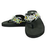 BLACK FLOWER RHINESTONE TRIBAL FASHION FLIP FLOP FF1-S069BLK
