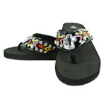BLACK CROSS RHINESTONE TRIBAL FASHION FLIP FLOP FF1-S071BLK