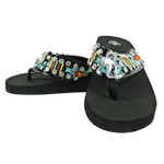 BLACK CROSS RHINESTONE STRIPED TRIBAL FASHION FLIP FLOP FF1-S076BLK
