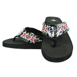 HOT PINK CROSS WITH WINGS RHINESTONE TRIBAL FASHION FLIP FLOP FF1-S077BLK