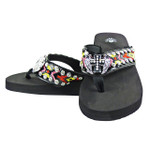 BLACK CROSS WITH WINGS RHINESTONE TRIBAL FASHION FLIP FLOP FF1-S080BLK