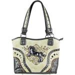 BEIGE METAL HORSE WITH STITCHED DESIGN LOOK SHOULDER HANDBAG HB1-W22HSBEI