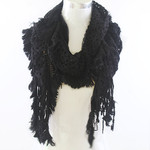 BLACK FRINGE PRINT LONG COTTON NECK SCARF NS1-0177BLK