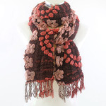 RED BUBBLE PRINT LONG COTTON NECK SCARF NS1-0178RED