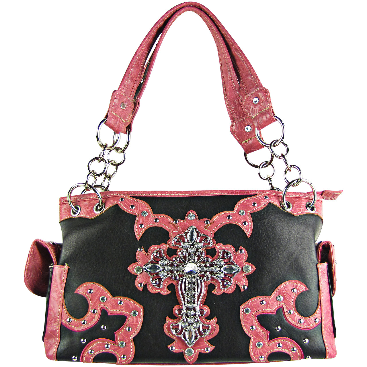 HOT PINK WESTERN STUDDED RHINESTONE CROSS DESIGN LOOK SHOULDER HANDBAG HOT PINK WESTERN STUDDED RHINESTONE CROSS DESIGN LOOK SHOULDER HANDBAG HB1-KW15RHPK