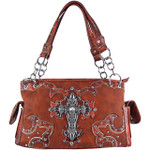 RED WESTERN STUDDED RHINESTONE CROSS DESIGN LOOK SHOULDER HANDBAG HB1-KW15RRED