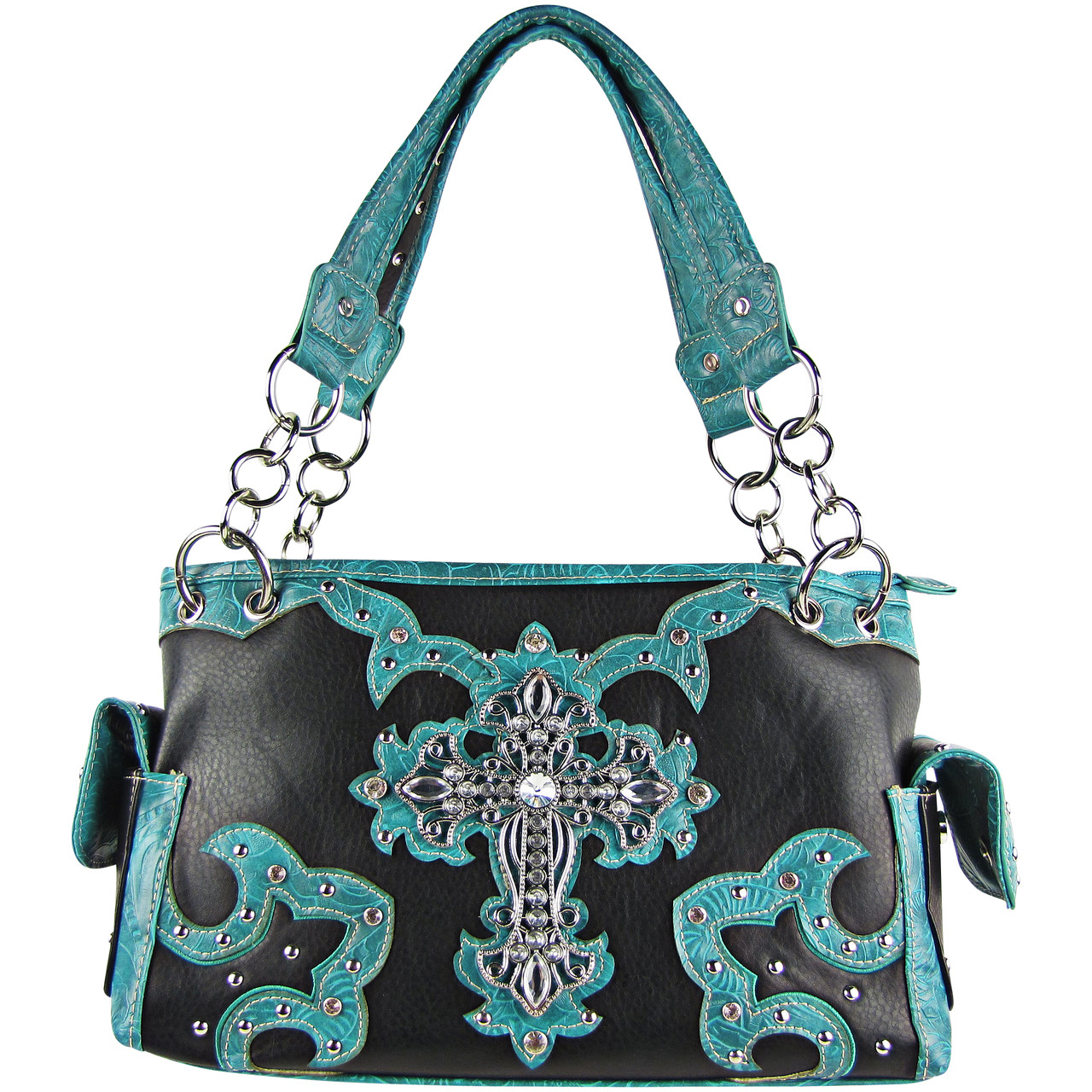TURQUOISE WESTERN STUDDED RHINESTONE CROSS DESIGN LOOK SHOULDER HANDBAGTURQUOISE WESTERN STUDDED RHINESTONE CROSS DESIGN LOOK SHOULDER HANDBAG HB1-KW15RTRQ