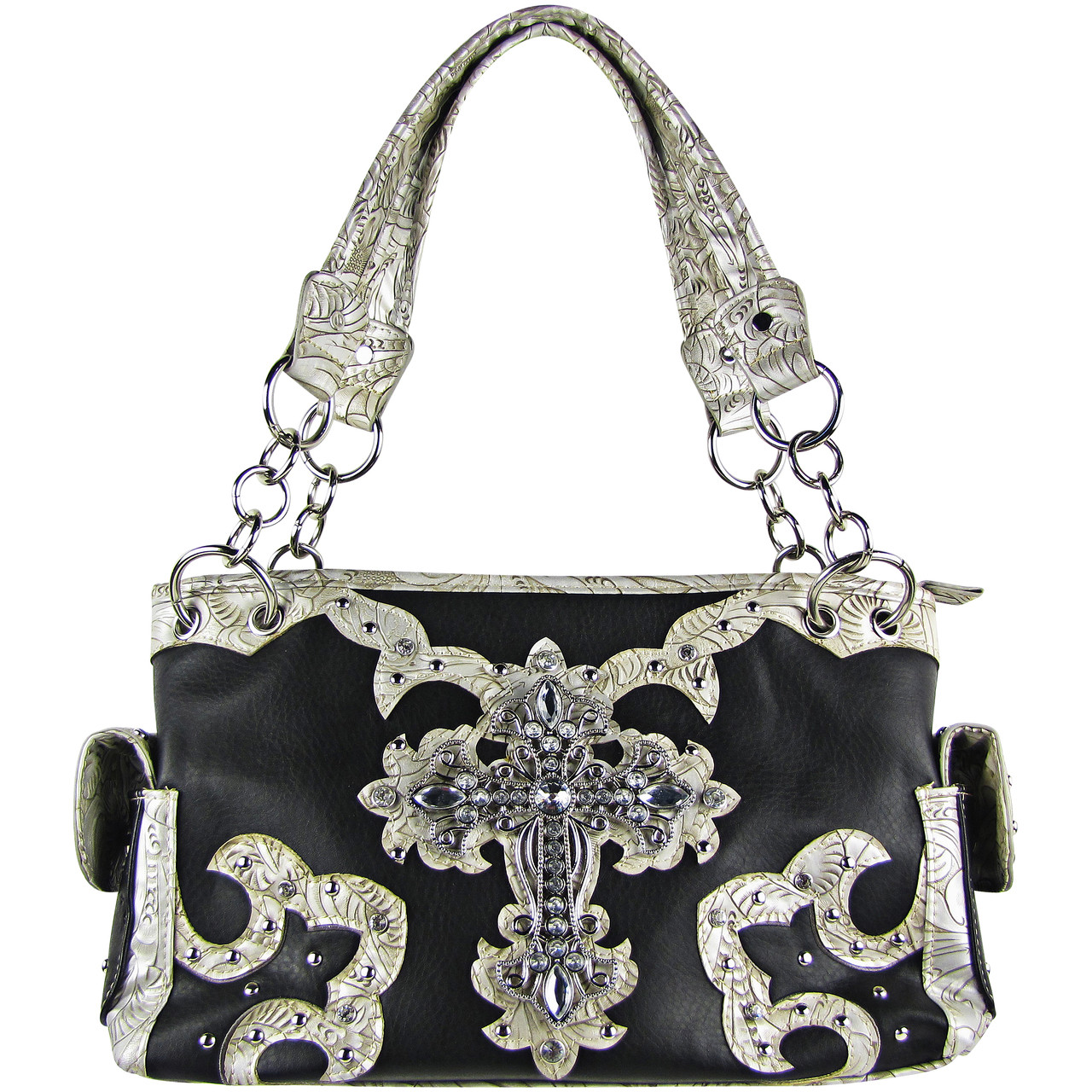 BLACK WESTERN STUDDED RHINESTONE CROSS DESIGN LOOK SHOULDER HANDBAG HB1-KW15RBLK