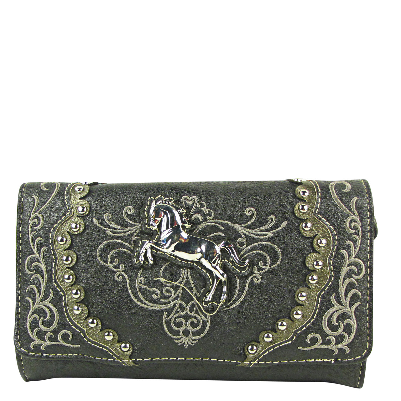 BLACK WESTERN STITCH METAL HORSE LOOK CLUTCH TRIFOLD WALLET CW1-1289BLK