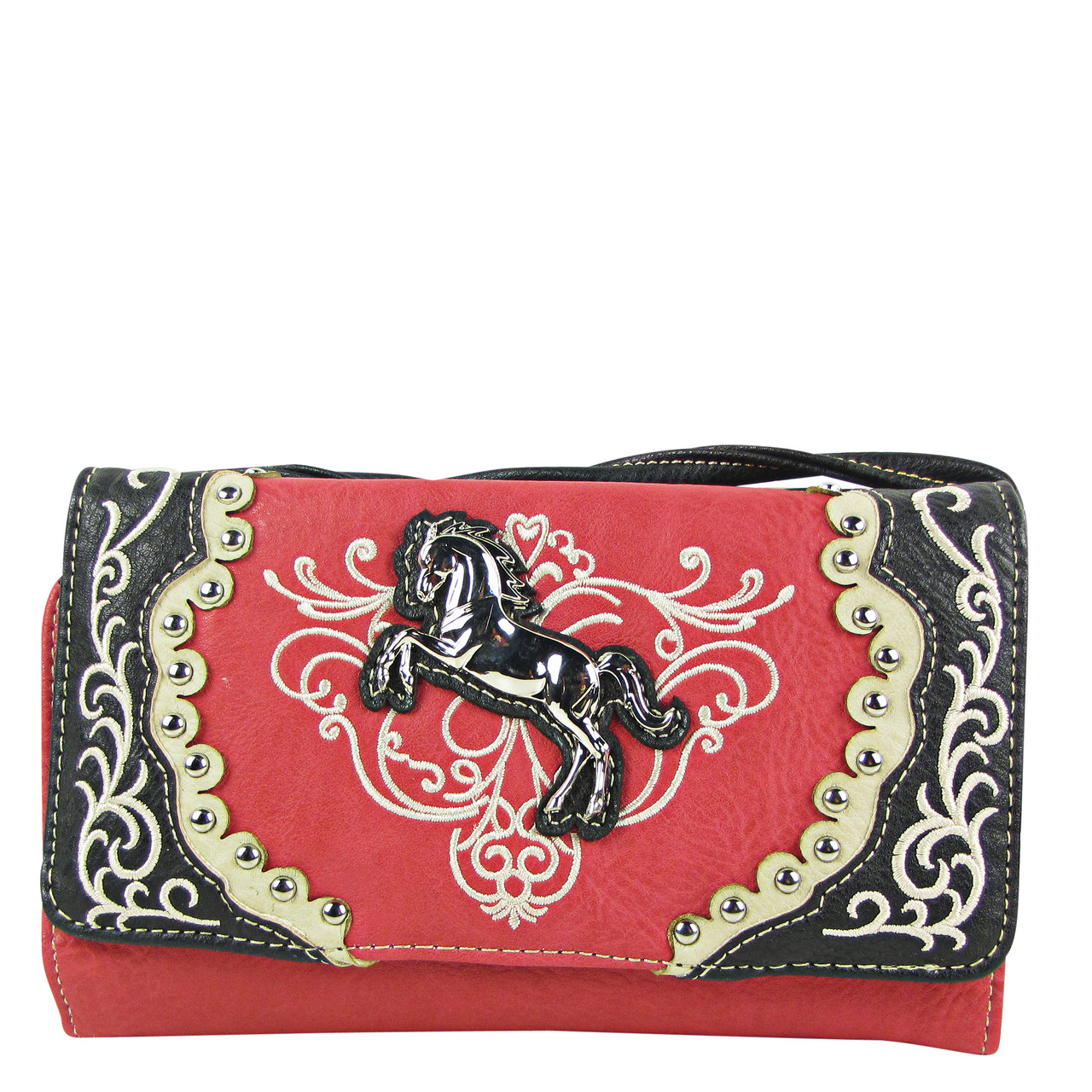 HOT PINK WESTERN STITCH METAL HORSE LOOK CLUTCH TRIFOLD WALLET CW1-1289HPK