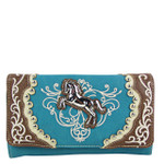 TURQUOISE WESTERN STITCH METAL HORSE LOOK CLUTCH TRIFOLD WALLET CW1-1289TRQ