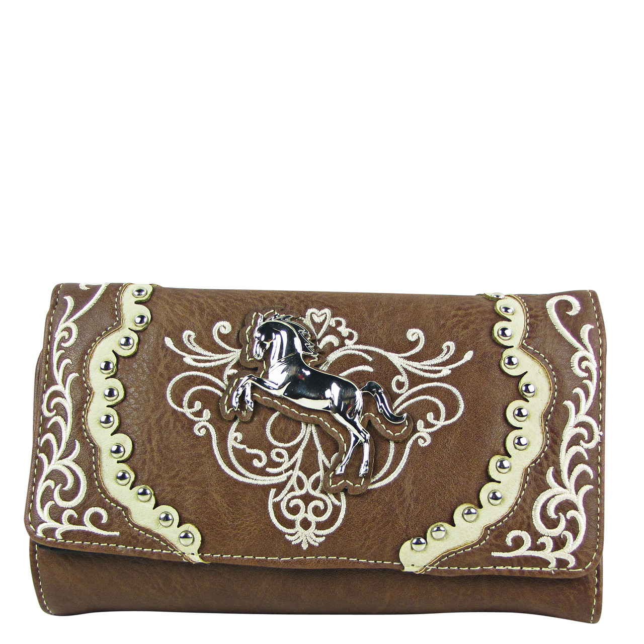 BROWN WESTERN STITCH METAL HORSE LOOK CLUTCH TRIFOLD WALLET CW1-1289BRN