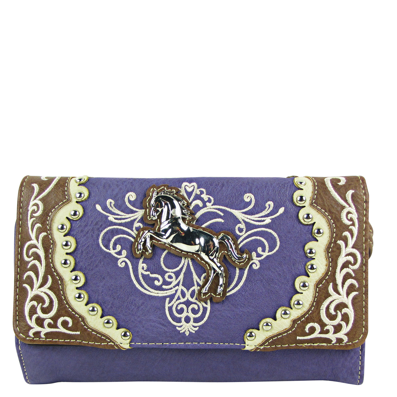 PURPLE WESTERN STITCH METAL HORSE LOOK CLUTCH TRIFOLD WALLET PURPLE WESTERN STITCH METAL HORSE LOOK CLUTCH TRIFOLD WALLET CW1-1289PPL
